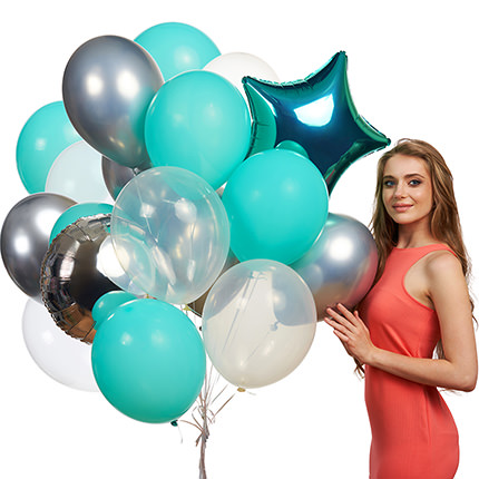 """Collection of balls """"Turquoise"""" - 9 balloons  - buy in Ukraine"""
