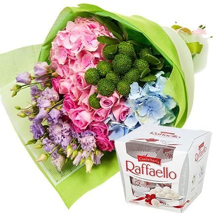"Summer bouquet ""Assorted Flowers"" + Raffaello  - buy in Ukraine"