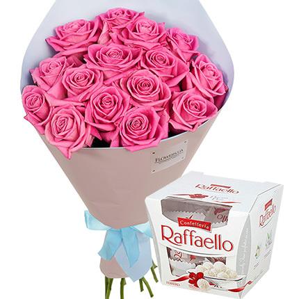 "Bouquet ""15 pink roses"" + Raffaello  - buy in Ukraine"