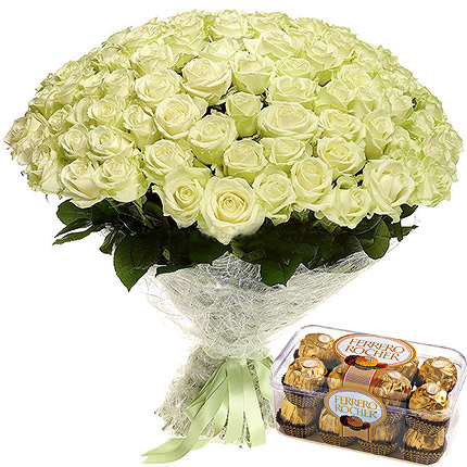 75 white roses  - buy in Ukraine