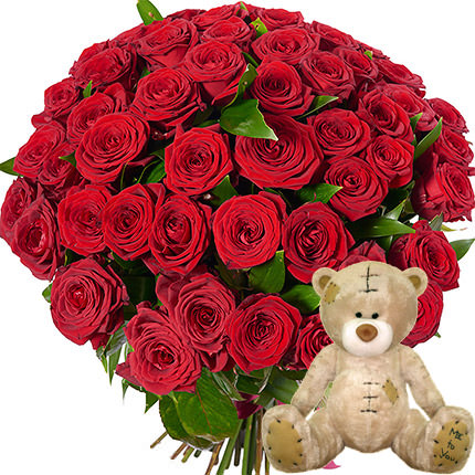 51 red roses with teddy bear  - buy in Ukraine