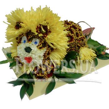 Львенок из цветов  - купить в Украине