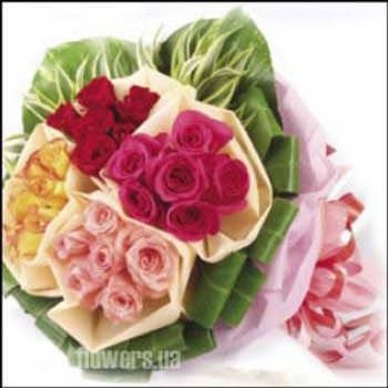 "Bouquet of roses ""Fantasy of colors""  - buy in Ukraine"