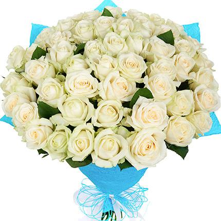 51 біла троянда  - придбати в Україні