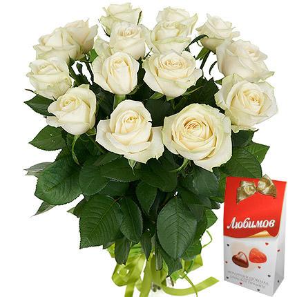 """Букет білих троянд """"Душка""""  - придбати в Україні"""