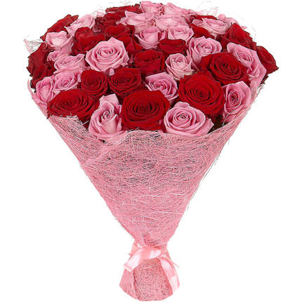 51 red and pink roses  - buy in Ukraine
