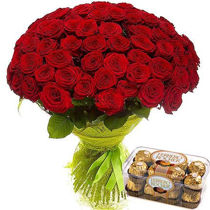 75 червоних троянд  - придбати в Україні