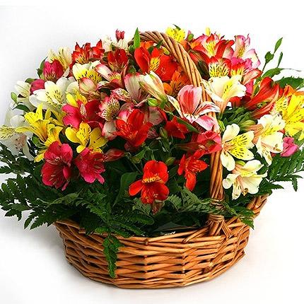 """Basket of alstromerias """"Watercolor""""  - buy in Ukraine"""