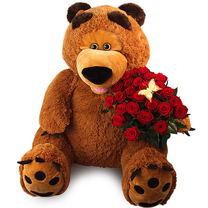 Giant teddy bear with roses  - buy in Ukraine