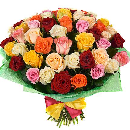 51 різнокольорова троянда  - придбати в Україні