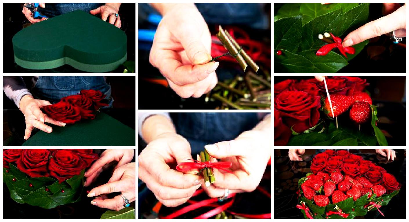 Как сделать букет из роз из живых 551