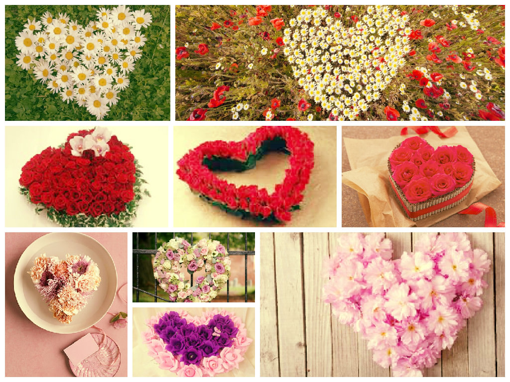 композиции из цветов в виде сердца