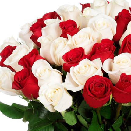 51 красная и белая роза - заказать с доставкой