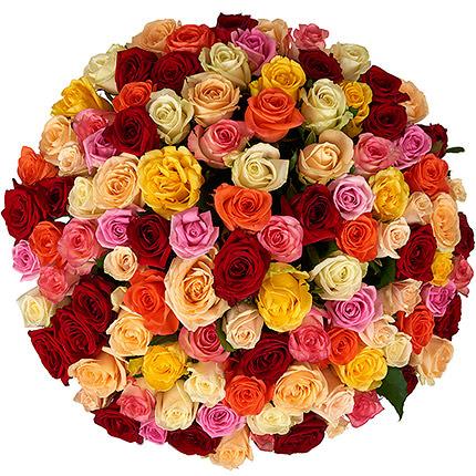 101 разноцветная роза - доставка по Украине