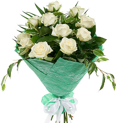 11 білих троянд - доставка по Україні
