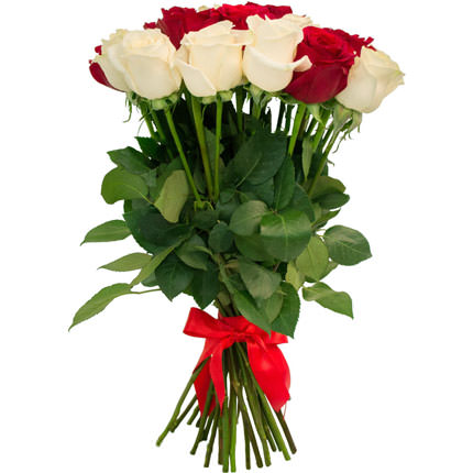 25 red and white roses - delivery in Ukraine