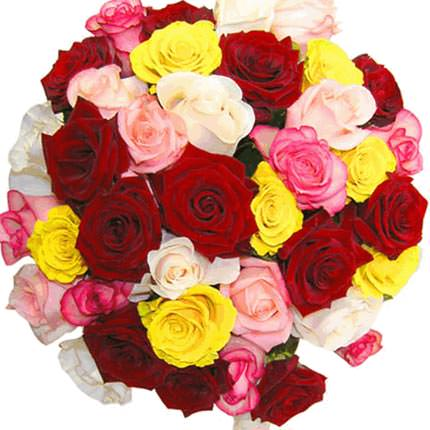 35 multicolored roses - delivery in Ukraine