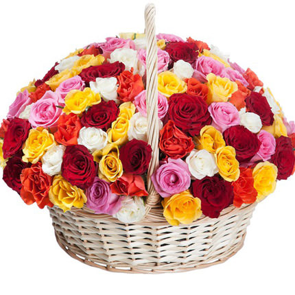"Корзина ""101 разноцветная роза"" - доставка по Украине"