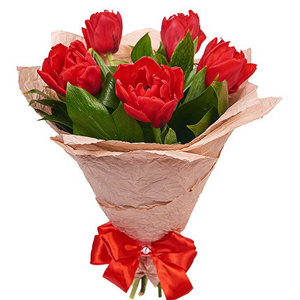 5 red tulips - delivery in Ukraine