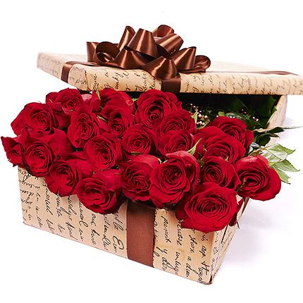 """Цветы в коробке """"25 красных роз"""" - заказать с доставкой"""
