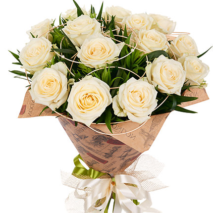 15 creamy roses - delivery in Ukraine