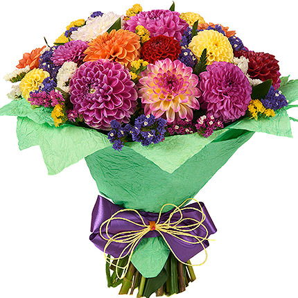 25 multicolored dahlias - delivery in Ukraine