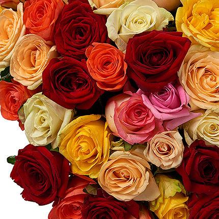 151 різнокольорова троянда - замовити з доставкою