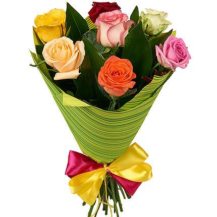 7 разноцветных роз - доставка по Украине