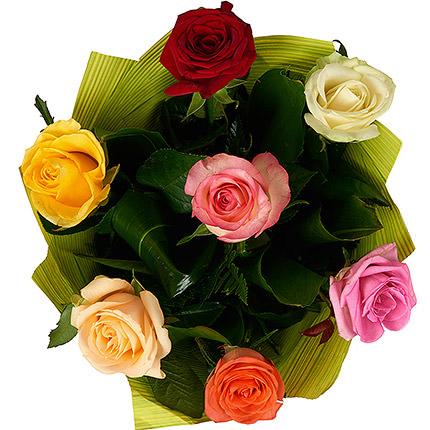7 разноцветных роз - заказать с доставкой