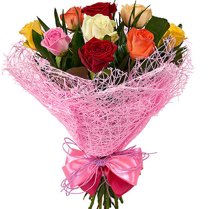 9 multicolored roses - delivery in Ukraine