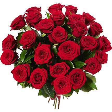 25 красных роз с воздушным шаром - доставка по Украине
