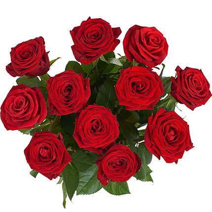 11 красных роз с воздушными шарами - доставка по Украине