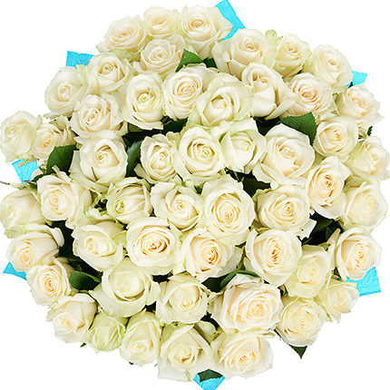 51 white roses with balloons - delivery in Ukraine