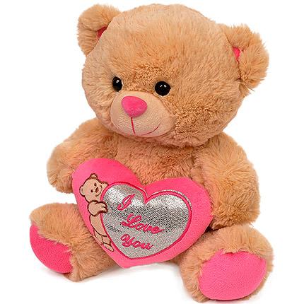 Мишка коричневый (с розовым сердцем) - доставка по Украине