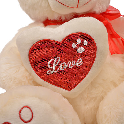 White Bear (with bow and heart) - order with delivery