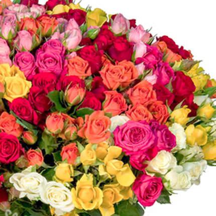 101 разноцветная кустовая роза - доставка по Украине