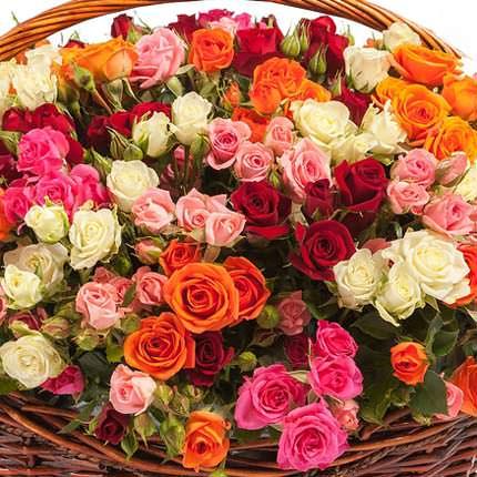 """Корзина """"101 разноцветная кустовая роза"""" - доставка по Украине"""