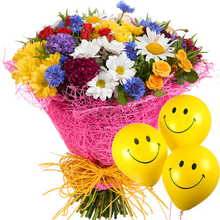 "Bouquet ""Summer miracle"" with balloons - delivery in Ukraine"