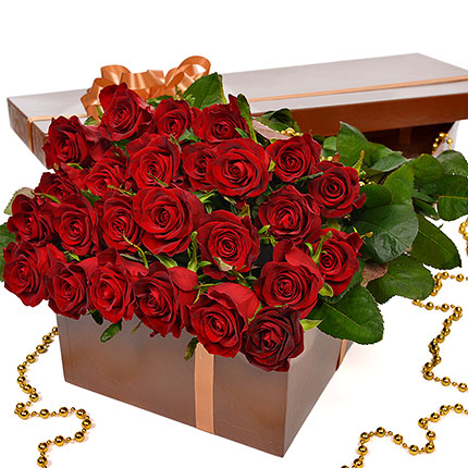 "Flowers in a box ""25 red roses!"" - delivery in Ukraine"