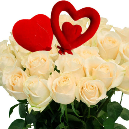 25 white roses with hearts - delivery in Ukraine