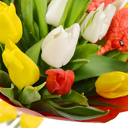 "Bouquet ""Two Hearts!"" (with teddy bear) - order with delivery"