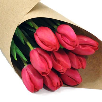 9 рожевих тюльпанів - доставка по Україні