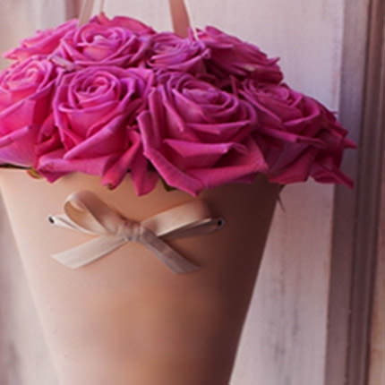 "Bouquet in the cone-package ""11 pink roses"" - delivery in Ukraine"