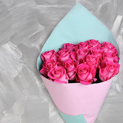 Bouquet of 15 pink roses - order with delivery