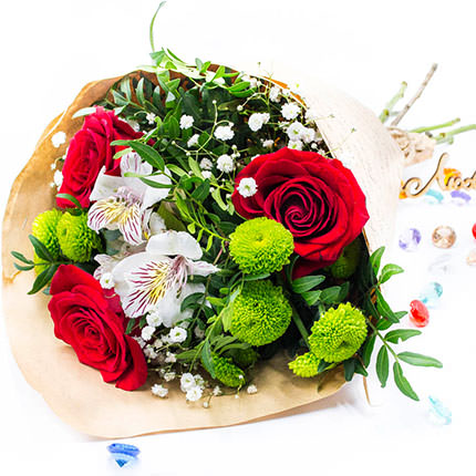 Mixed bouquet of flowers (green chrysanthemum) - delivery in Ukraine