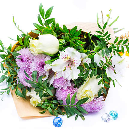 Mixed bouquet of flowers (pink chrysanthemum) - delivery in Ukraine
