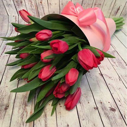 "Bouquet in the cone-package ""19 pink tulips"" - order with delivery"