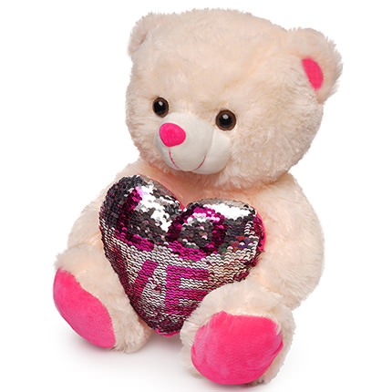 Bear (heart in sequins) - order with delivery