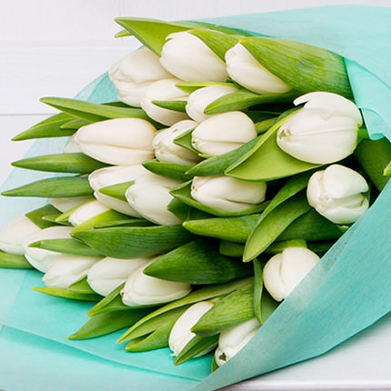 25 white tulips - order with delivery