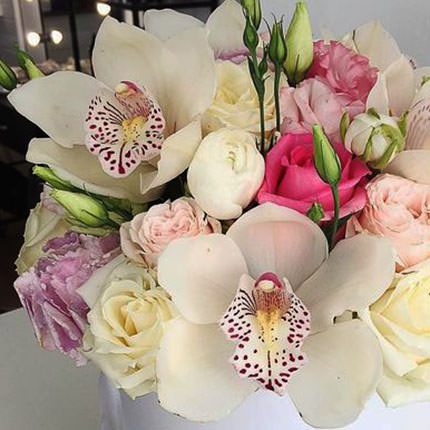 "Flowers in the box ""Great feeling!"" - order with delivery"